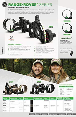 TRUGLO RANGE-ROVER Series Single-Pin Moving Bow Sight, Black, Left-Handed, .019'' Pin, Toolless Micro-Adjustable Windage by TRUGLO (Image #6)