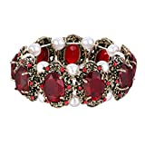 BriLove Antique-Gold-Toned Bracelet Simulated Pearl Crystal Victorian Style Multi Floral Cameo Inspired Oval Stretch Bracelet for Women Ruby Color