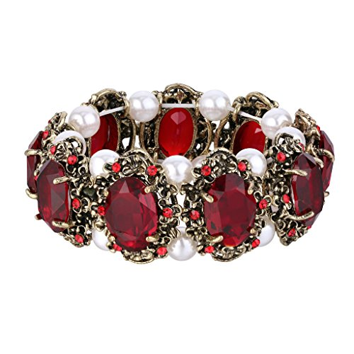 BriLove Women's Victorian Style Crystal Simulated Pearl Multi Floral Cameo Inspired Oval Stretch Bracelet Ruby Color Antique-Gold-Tone (Victorian Style Pearl)