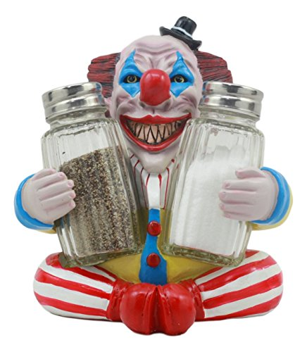 Ebros Halloween IT Killer Mannequin Pennywise Clown Salt and Pepper Shakers Holder Figurine Set 5.5