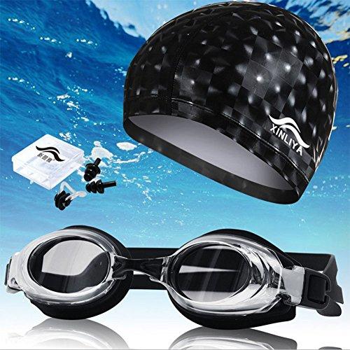 Zjsmm FRZ-PU imperméable Chapeau de natation Imperméable et anti-buée Lunettes de natation Unisexe