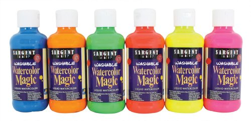 Sargent Art 22-7099 6-Count 8-Ounce Fluorescent Watercolor Magic Set