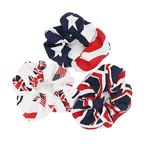 AISHNE-Women-Hair-Scrunchies-USA-American-Flag-Union-Jack-Scrunchie-Pack-of-3