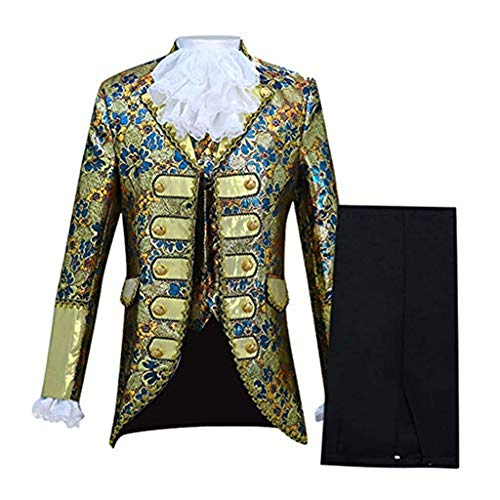 Super Bally Mens European Style Court Costumes Military Uniforms Performances Suit Gothic Steampunk Style Light Blue