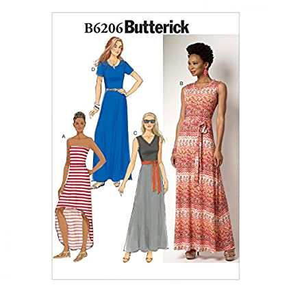 Amazon Butterick Ladies Easy Sewing Pattern 6206 Maxi Dresses