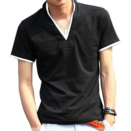 KMAZN スキッパーポロシャツ メンズ Vネック Tシャツ 半袖 フェイクレイヤード 無地 カジュアル トップス 黒 春 夏 秋 ゴルフ