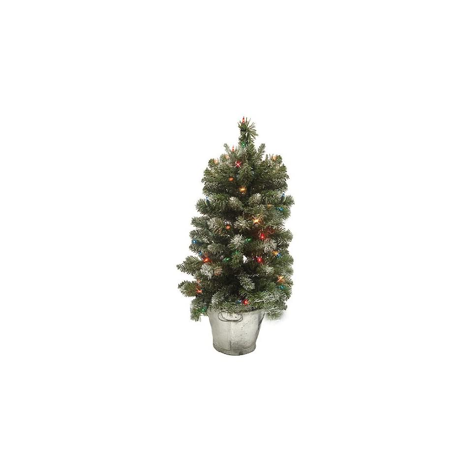 2.5 Mixed Snowy Glacier Pre Lit Potted Artificial Christmas Tree   Multi Lights