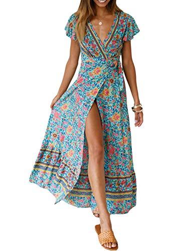 Dearlove Womens Casual Bohemian Floral Print Wrap V Neck Short Sleeve Split Summer Maxi Long Dress Beach Sundress Sky Blue Flower Large