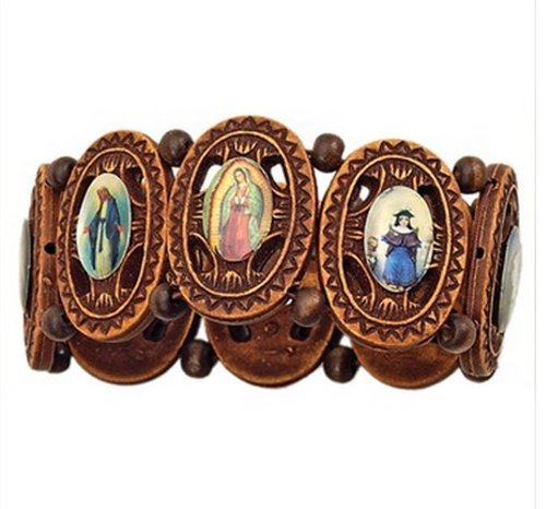 Fancy Victorian Wood Rosary Bracelet with Religious Icons ()