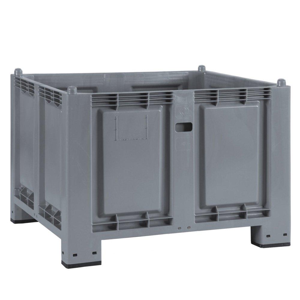 Palettenbox mit 4 Füßen, lebensmittelecht, LxBxH 1200 x 800 x 850 mm, grau