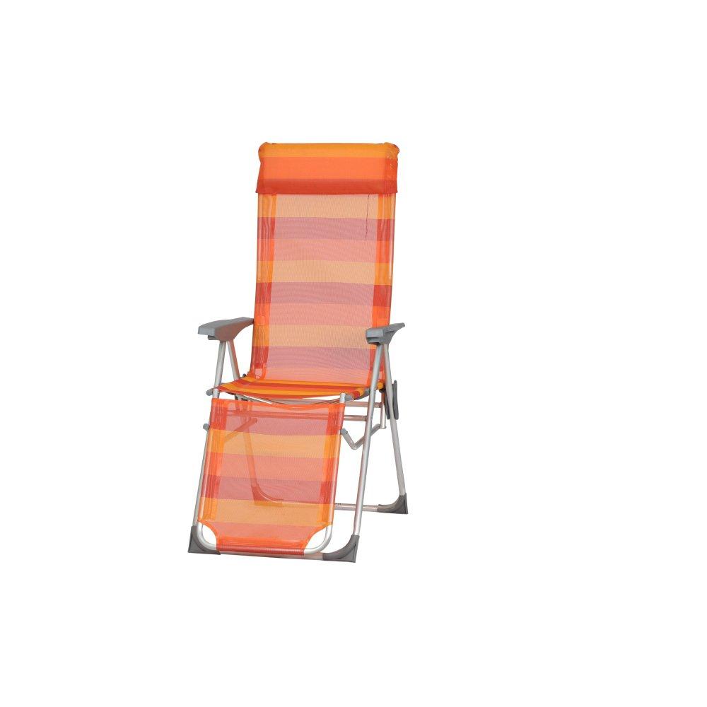 Siena Garden Relaxsessel Kamiros, 90x58x117cm, Gestell: Aluminium, Fläche: Ranotex-Gewebe in rot/orange