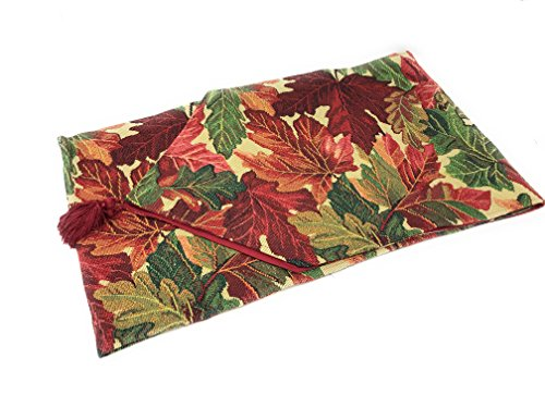 (Tache Thanksgiving Leaves Fall Foliage Long Tapestry Warm Colorful Table Runners 13 x 90 Inches)