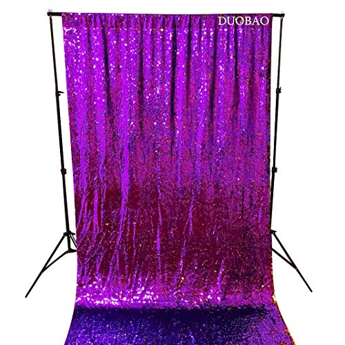 Sequin Curtains 2 Panels Purple to Gold Reversible Shimmer Backdrop Fabric 4FTx8FT Mermaid Sequin Backdrop Curtains for Wedding Party Decor by DUOBAO (Image #2)