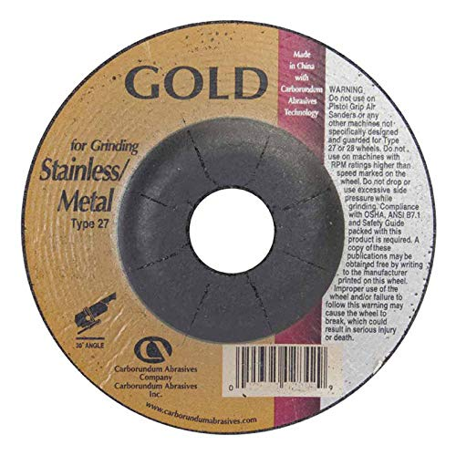 24 Grit Aluminum Oxide 145 Pack 6 in Dia Depressed Center Wheel 1//4 in Thick