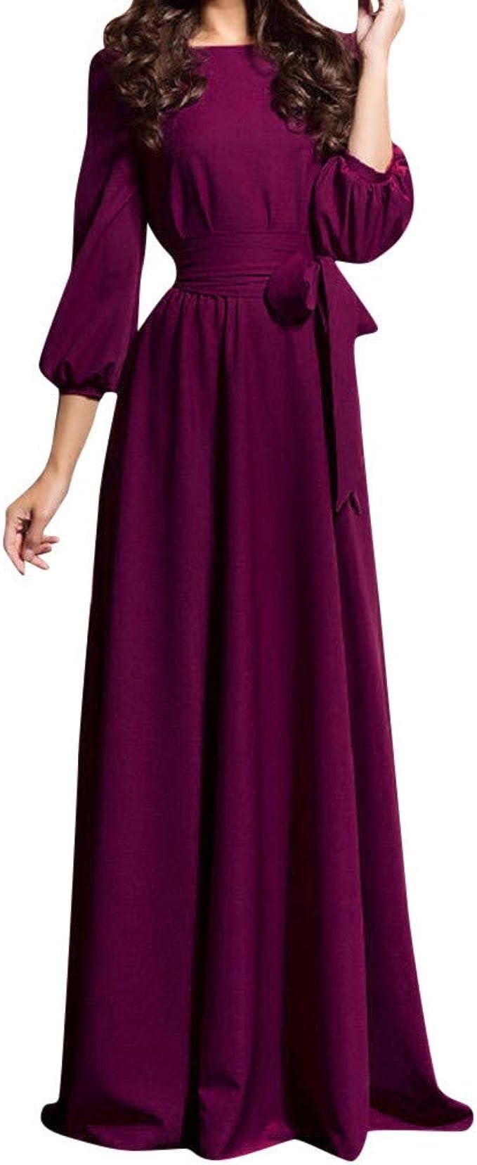 AZZRA Frauen-Sommer-beiläufige Party-Kleid-Laterne Ärmel Feste Lange  Kleider mit Gurt Meerjungfrau Off Shoulder Abendkleider Ballkleid Maxikleid