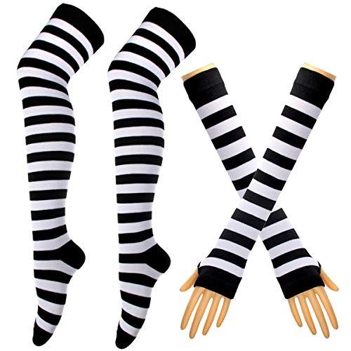Colorful Rainbow Stripe Leggings Long Knit Gloves Socks Set Party Costume Accessory (E-black&white)