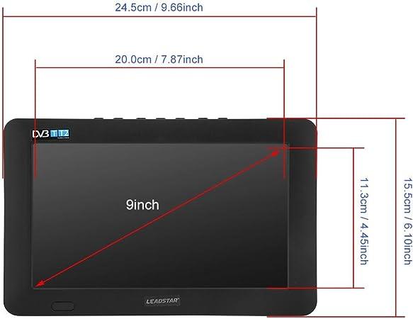 TV portátil, 9 Pulgadas DVB-T-T2 16: 9 HD TV analógica Digital Reproductor de televisión Digital para el hogar, automóvil, Dormitorio, Cocina, Caravana, Disco U y Tarjeta TF, Soporte 1080p Video(UE): Amazon.es: Electrónica