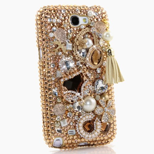 Samsung Note 2 Luxury 3D Bling Case - Gorgeous Royal Queen Pearl Golden Purse Design - Swarovski Crystal Diamond Sparkle Girly Protective Cover Faceplate (100% Handcrafted By (Swarovski Crystal Cover Faceplate)