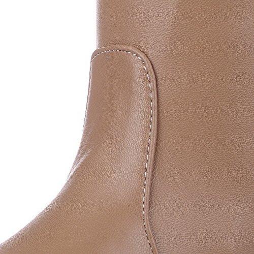 AllhqFashion Mujeres Puntera Redonda Tacón Medio Material Suave Caña Alta Sólido Botas Albaricoque