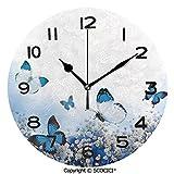 SCOCICI Round Wall Clock Blue Hydrangeas and Butterflies Rural Scenery Freshness Spring Yard Garden Decorative 10 inch Morden Acrylic Mirror Wall Clocks Silent Round Decorative Clock