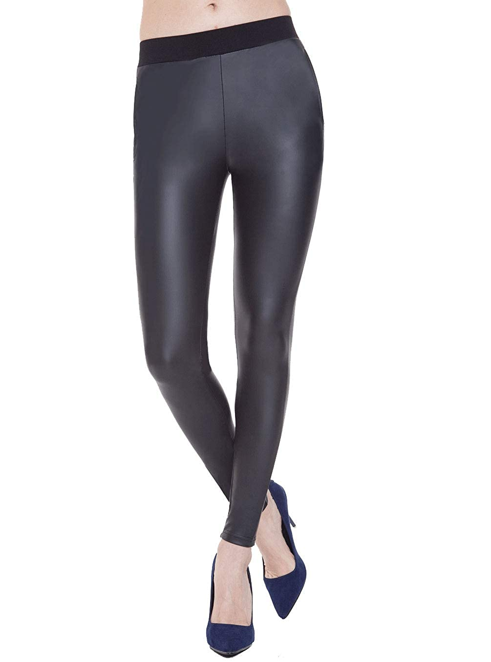 fd3fc8a6ca3268 Everbellus Stretchy Faux Leather Leggings for Women with Side Pockets Leather  Pants Black at Amazon Women's Clothing store: