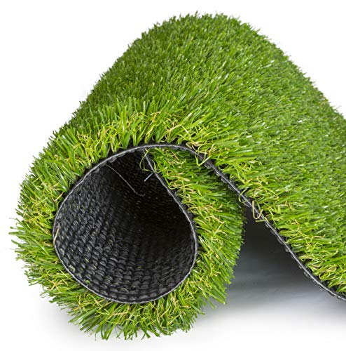 SavvyGrow Realistic Astroturf Rug 5 ft x 8 ft- Premium 4 Tone Synthetic Astro Turf, Easy to Clean with Drain Holes…