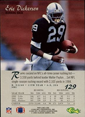 1993 Pro Line Live Football Card #129 Eric Dickerson Mint