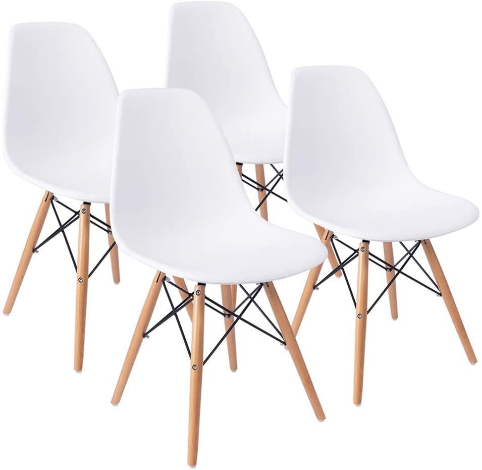 Amazon Com Furmax Pre Assembled Style Mid Century Modern Dsw Shell Lounge Plastic Kitchen Dining Bedroom Living Room Side Chairs Set Of 4 White Chairs
