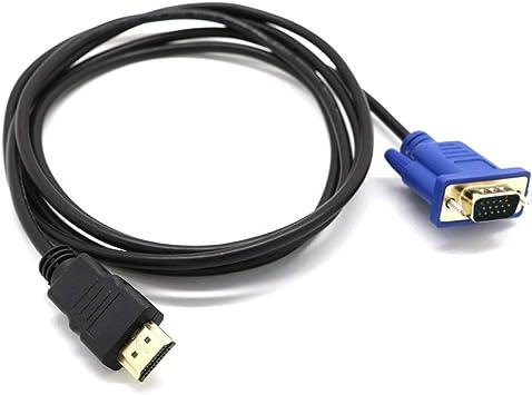 Cable Adaptador de Video Macho HDMI a VGA D-Sub de 1 M Cable para HDTV PC Cable de Adaptador de Video para Monitor de computadora + Negro: Amazon.es: Electrónica