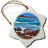 3dRose orn_142724_1 Beach, Seventeen Mile Drive, Monterey, California, Usa-Us05 Jal0162-John Alves-Snowflake Ornament, 3-Inch, Porcelain