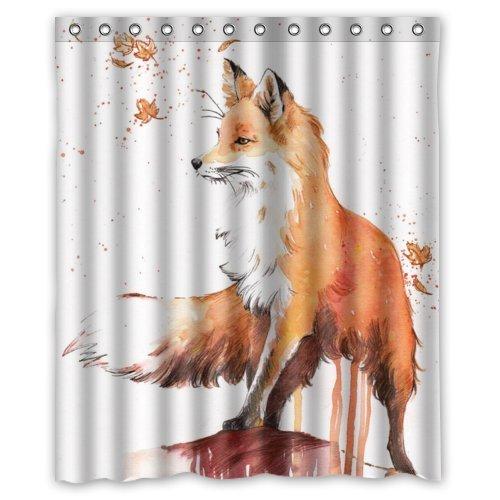 Amazon 60Widthx 72Height Special Design Fox Autumn Maple Waterproof Bathroom Shower CurtainBathroom Decor Home Kitchen