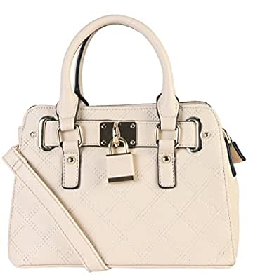 Diophy PU Leather Quilted Front Lock Decoration Shell Shape Womens Top Handle Purse Handbag SZ-3048 Beige