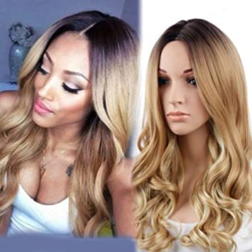 RJ Hair Glueless Ombre Lace Front Wig Natural Wave Honey Blonde Dark Roots Ombre Synthetic Wavy