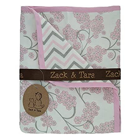 Zack & Tara Snuggle Blanket - Beautiful Blossoms & Chic Chevron in Blue & Grey