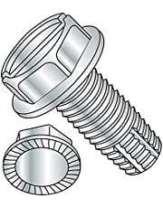 """Steel Thread Cutting Screw, Zinc Plated Finish, Serrated Hex Washer Head, Slotted Drive, Type F, 12-24 Thread Size, 1/2"""" Length (Pack of 100)"""