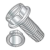Steel Thread Cutting Screw, Zinc Plated Finish, Serrated Hex Washer Head, Slotted Drive, Type F, 3/8''-16 Thread Size, 1-1/2'' Length (Pack of 10)