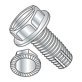 Type F 5//16-18 Thread Size Serrated Hex Washer Head Slotted Drive Zinc Plated Finish Pack of 10 Steel Thread Cutting Screw 3//4 Length