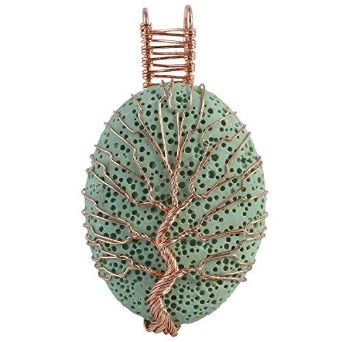 SUNYIK Oval Green Lava Rock Tree of Life Pendant Necklaces for Women Handmade Reiki Healing ()