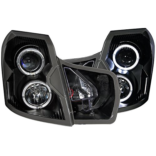 Anzo USA 121415 Black Halo Projector Headlight with Clear Lens for Cadillac CTS (Halo Headlights Cts Cadillac)