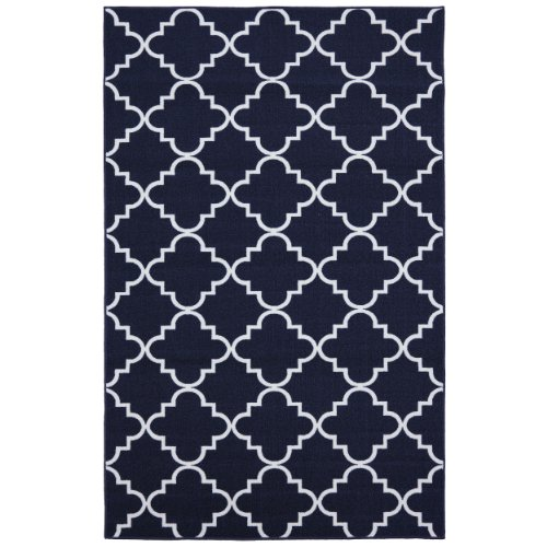 Mohawk Home Soho Fancy Trellis Printed Rug, 5'x7', Navy - Family Room Ideas - Make quick & easy changes to any room in your home in minutes by changing the rug - add color & patterns