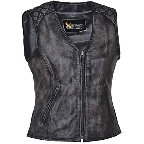 (Xelement BXU6865 Urban Armor 'Quilted Shoulders' Women's Amarillo Grey Premium Leather Vest with Gun Pockets - X-Large)