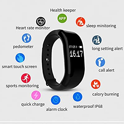 Fitness Tracker Smart Wristband Heart Rate Monitor Sleep Monitor Calorie Counter Pedometer Sweatproof Sports Bracelet for iPhone & Android Phone