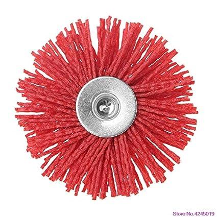 Abrasive Steel Deburring Wire Brush Head Polishing Red Nylon Wheel Cup Shank