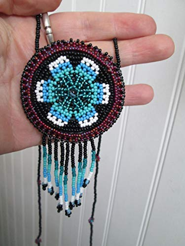 - beaded huichol style purple black white blue turquoise flower medallion circle disc Guatemalan central american Native medicine bag stash pouch necklace southwest Aztec Indian design Ethnic beads bead