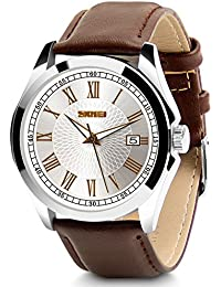Men's Classic Quartz Wrist Watch,Roman Numeral Business Watch Casual Analog Watches Waterproof with Leather Band - Brown