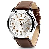 Aposon Men's Classic Quartz Wrist Watch,Roman Numeral Business Watch Casual Analog Watches Waterproof with Leather Band - Brown