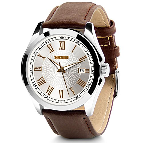 Aposon Men's Classic Quartz Wrist Watch,Roman Numeral Business Watch Casual Analog Watches Waterproof with Leather Band - Brown (Brown Roman Dial)