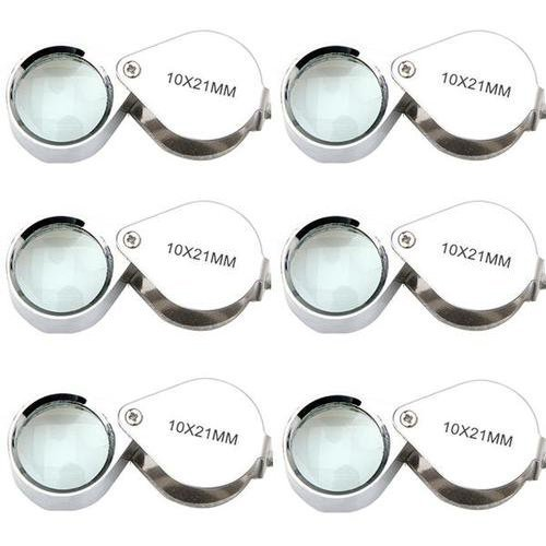 Lot 6 pcs New Magnifier 10x 21mm Jeweler Loupe Eye Glass Loop Magnifying ZX0011A ()