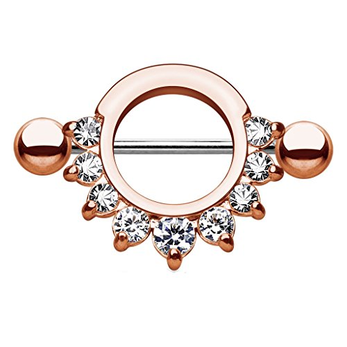 Dynamique Pronged Gem Half Circle Stainless Steel Nipple Shield (Rose Gold/Clear - One Piece)
