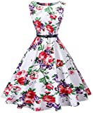 I2CRAZY Womens Boatneck Sleeveless Vintage 1950s Retro Rockabilly Prom Tea Dress with Belt  ,Large , F04